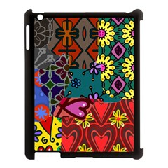 Digitally Created Abstract Patchwork Collage Pattern Apple Ipad 3/4 Case (black)