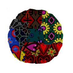 Digitally Created Abstract Patchwork Collage Pattern Standard 15  Premium Round Cushions