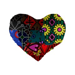 Digitally Created Abstract Patchwork Collage Pattern Standard 16  Premium Heart Shape Cushions