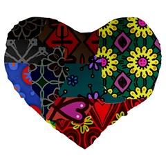 Digitally Created Abstract Patchwork Collage Pattern Large 19  Premium Heart Shape Cushions