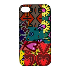 Digitally Created Abstract Patchwork Collage Pattern Apple Iphone 4/4s Hardshell Case With Stand