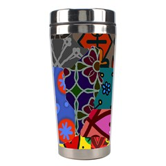 Digitally Created Abstract Patchwork Collage Pattern Stainless Steel Travel Tumblers