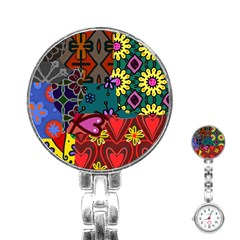 Digitally Created Abstract Patchwork Collage Pattern Stainless Steel Nurses Watch