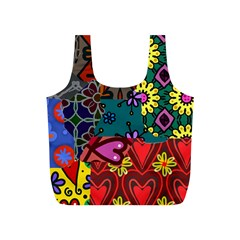 Digitally Created Abstract Patchwork Collage Pattern Full Print Recycle Bags (s)