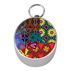 Digitally Created Abstract Patchwork Collage Pattern Mini Silver Compasses