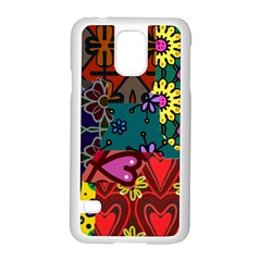 Digitally Created Abstract Patchwork Collage Pattern Samsung Galaxy S5 Case (white)