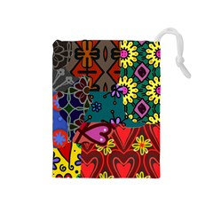 Digitally Created Abstract Patchwork Collage Pattern Drawstring Pouches (medium)