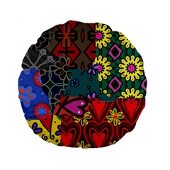 Digitally Created Abstract Patchwork Collage Pattern Standard 15  Premium Flano Round Cushions