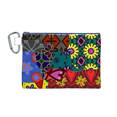 Digitally Created Abstract Patchwork Collage Pattern Canvas Cosmetic Bag (M)