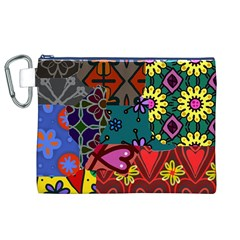 Digitally Created Abstract Patchwork Collage Pattern Canvas Cosmetic Bag (XL)