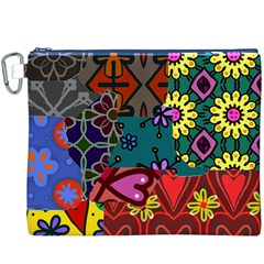 Digitally Created Abstract Patchwork Collage Pattern Canvas Cosmetic Bag (XXXL)
