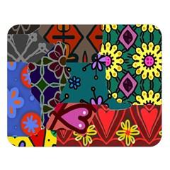 Digitally Created Abstract Patchwork Collage Pattern Double Sided Flano Blanket (Large)
