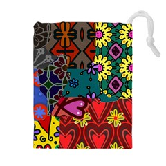Digitally Created Abstract Patchwork Collage Pattern Drawstring Pouches (extra Large)