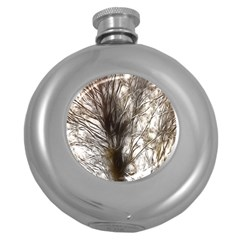 Tree Art Artistic Tree Abstract Background Round Hip Flask (5 oz)
