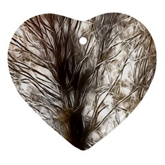 Tree Art Artistic Tree Abstract Background Heart Ornament (Two Sides)