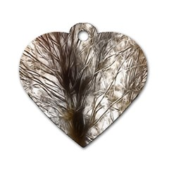 Tree Art Artistic Tree Abstract Background Dog Tag Heart (One Side)