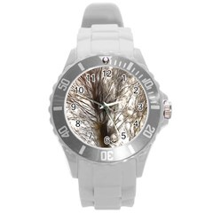 Tree Art Artistic Tree Abstract Background Round Plastic Sport Watch (l)
