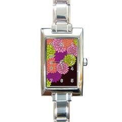 Floral Card Template Bright Colorful Dahlia Flowers Pattern Background Rectangle Italian Charm Watch