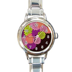 Floral Card Template Bright Colorful Dahlia Flowers Pattern Background Round Italian Charm Watch
