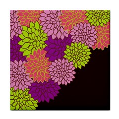 Floral Card Template Bright Colorful Dahlia Flowers Pattern Background Tile Coasters