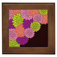 Floral Card Template Bright Colorful Dahlia Flowers Pattern Background Framed Tiles
