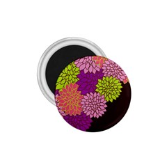 Floral Card Template Bright Colorful Dahlia Flowers Pattern Background 1.75  Magnets