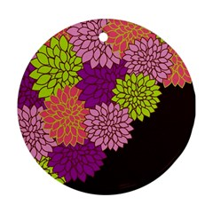 Floral Card Template Bright Colorful Dahlia Flowers Pattern Background Ornament (round)