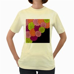 Floral Card Template Bright Colorful Dahlia Flowers Pattern Background Women s Yellow T Shirt