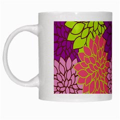 Floral Card Template Bright Colorful Dahlia Flowers Pattern Background White Mugs