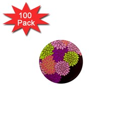 Floral Card Template Bright Colorful Dahlia Flowers Pattern Background 1  Mini Magnets (100 Pack)