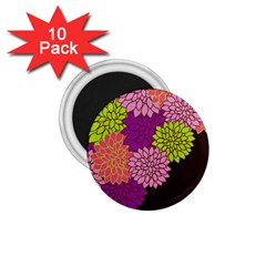 Floral Card Template Bright Colorful Dahlia Flowers Pattern Background 1.75  Magnets (10 pack)