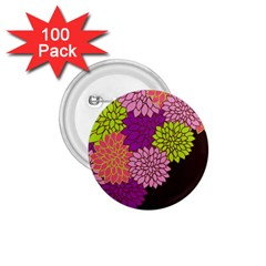 Floral Card Template Bright Colorful Dahlia Flowers Pattern Background 1.75  Buttons (100 pack)