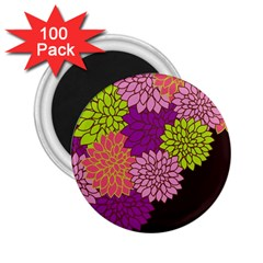 Floral Card Template Bright Colorful Dahlia Flowers Pattern Background 2 25  Magnets (100 Pack)
