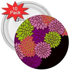 Floral Card Template Bright Colorful Dahlia Flowers Pattern Background 3  Buttons (10 pack)