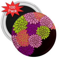 Floral Card Template Bright Colorful Dahlia Flowers Pattern Background 3  Magnets (100 pack)