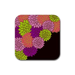 Floral Card Template Bright Colorful Dahlia Flowers Pattern Background Rubber Square Coaster (4 pack)