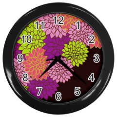 Floral Card Template Bright Colorful Dahlia Flowers Pattern Background Wall Clocks (Black)