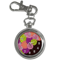 Floral Card Template Bright Colorful Dahlia Flowers Pattern Background Key Chain Watches