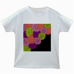 Floral Card Template Bright Colorful Dahlia Flowers Pattern Background Kids White T Shirts