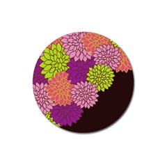 Floral Card Template Bright Colorful Dahlia Flowers Pattern Background Magnet 3  (round)