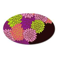 Floral Card Template Bright Colorful Dahlia Flowers Pattern Background Oval Magnet