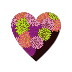 Floral Card Template Bright Colorful Dahlia Flowers Pattern Background Heart Magnet