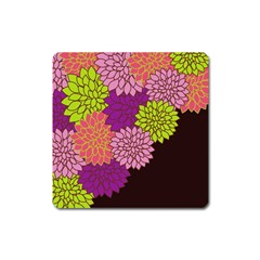 Floral Card Template Bright Colorful Dahlia Flowers Pattern Background Square Magnet