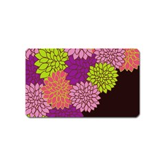 Floral Card Template Bright Colorful Dahlia Flowers Pattern Background Magnet (Name Card)