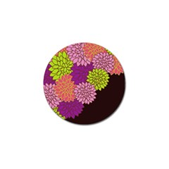 Floral Card Template Bright Colorful Dahlia Flowers Pattern Background Golf Ball Marker (10 pack)