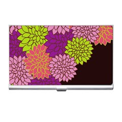 Floral Card Template Bright Colorful Dahlia Flowers Pattern Background Business Card Holders