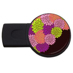 Floral Card Template Bright Colorful Dahlia Flowers Pattern Background USB Flash Drive Round (2 GB)