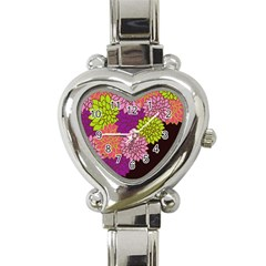 Floral Card Template Bright Colorful Dahlia Flowers Pattern Background Heart Italian Charm Watch
