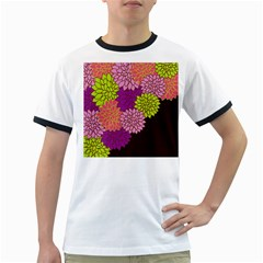 Floral Card Template Bright Colorful Dahlia Flowers Pattern Background Ringer T-Shirts