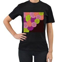 Floral Card Template Bright Colorful Dahlia Flowers Pattern Background Women s T-Shirt (Black) (Two Sided)